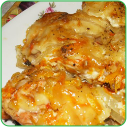 Горбуша с картофелем в сырной шапочке