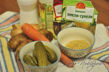 Несложный набор продуктов для супа
