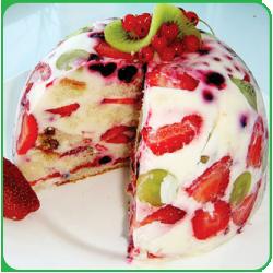 Фруктово бисквитный торт