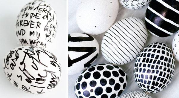 Узоры маркером на яйцах