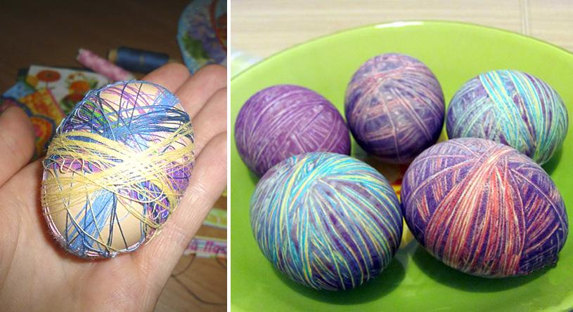Покраска яиц с помощью мулине