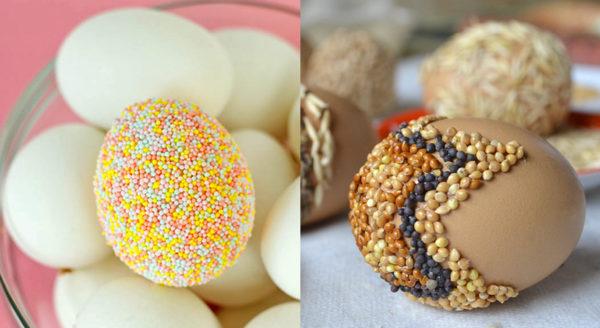 Украшение яиц крупой и посыпкой