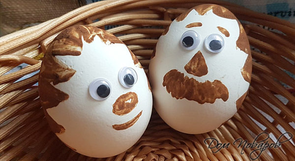 Украшение яиц какао