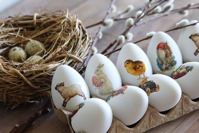 Декупаж на неорашенных яйцах