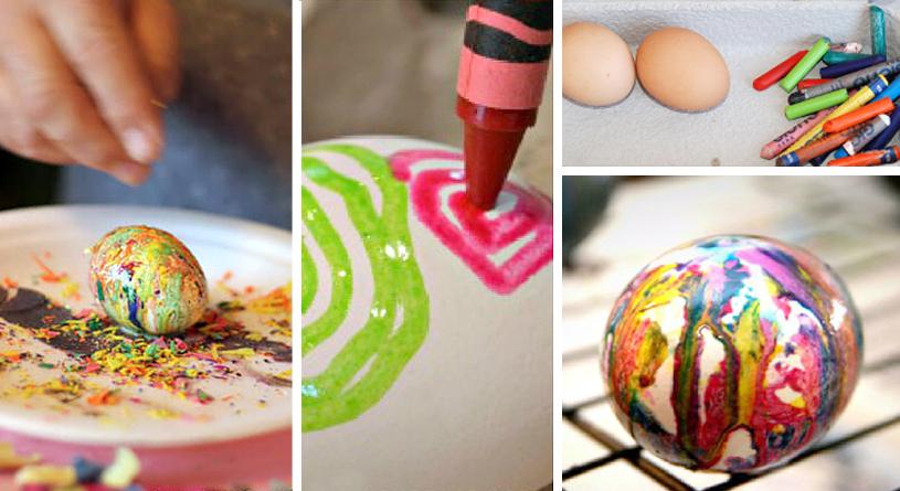 Украшение яиц цветным воском
