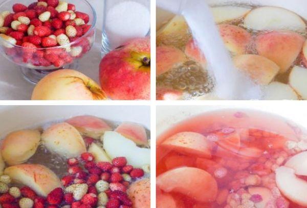 приготовление компота из яблок и земляники