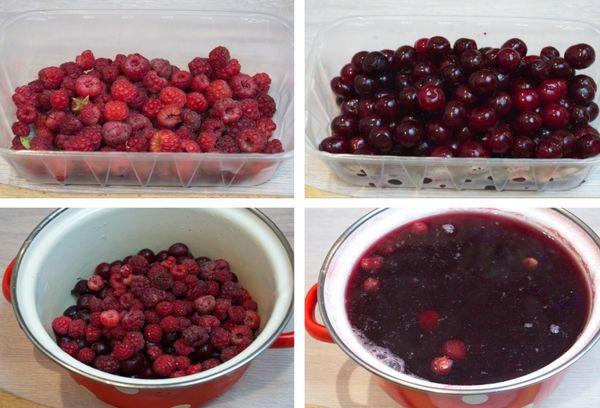 приготовление компота из малины и вишни