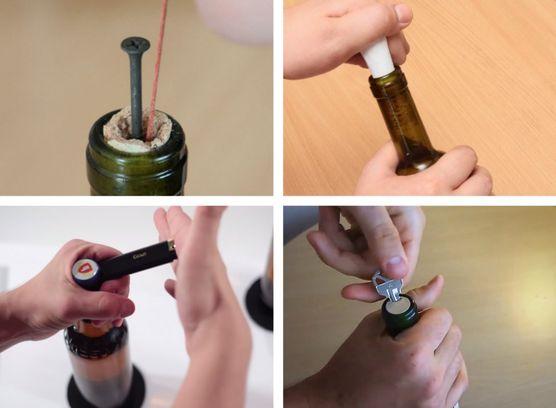 открытие бутылки разными предметами