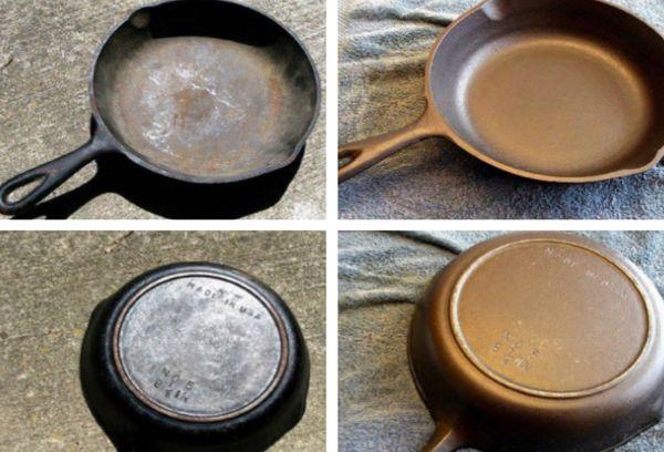 чугунная сковорода до и после чистки