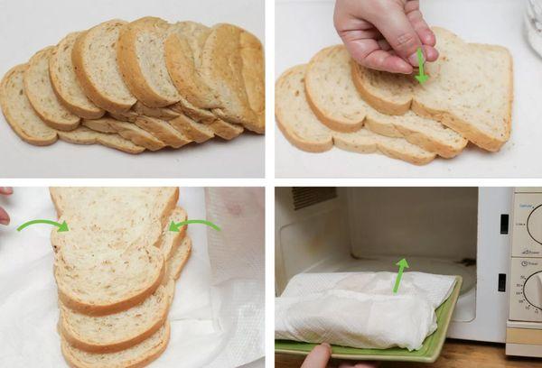 освежаем хлеб при помощи микроволновки