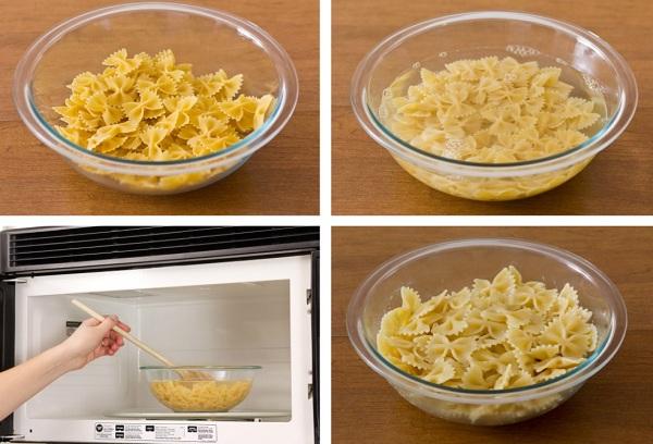 приготовление макарон в микроволновке