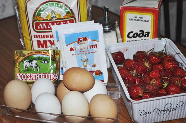 Ингредиенты для торта с клубничным суфле