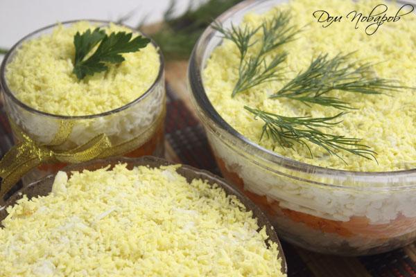 Готовый салат в разной посуде