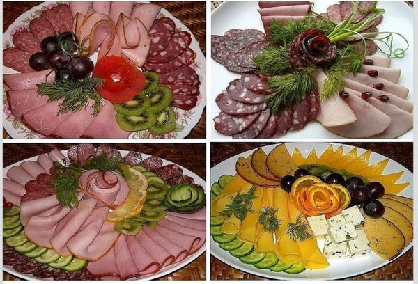 Красиво нарезанные мясные продукты