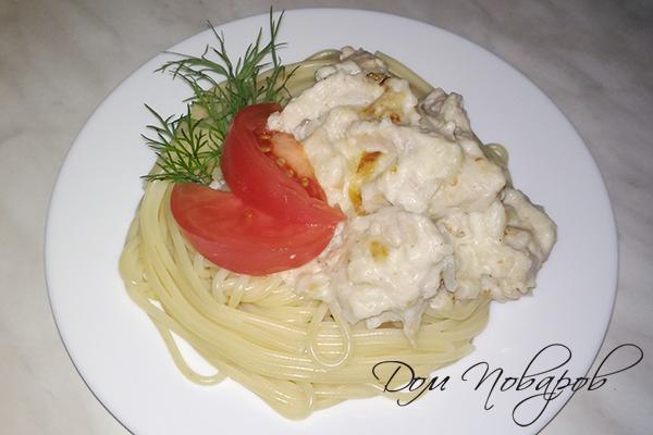 Спагетти с индейкой в сливочном соусе