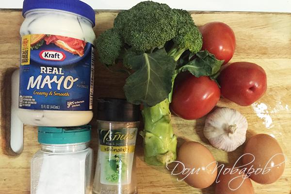 Ингредиенты для салата из брокколи с помидорами