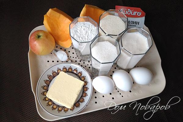 Ингредиенты для пирога с тыквой и яблоками