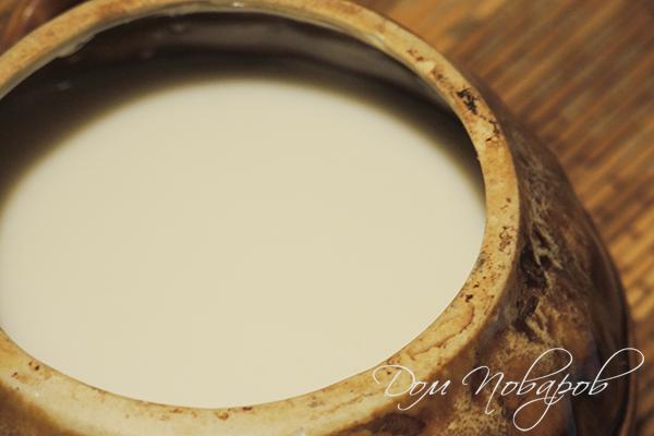 Крупа с молоком в горшочке