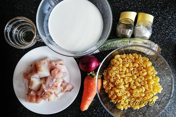 Ингредиенты для пасты с белой рыбой
