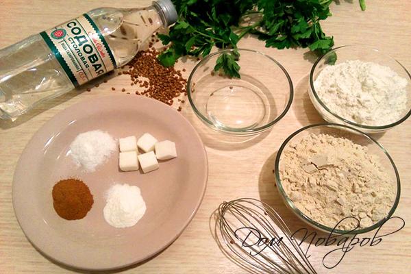 Ингредиенты для гречневых блинчиков