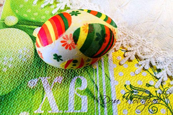 Пасхальное яйцо, украшенное в технике декупаж