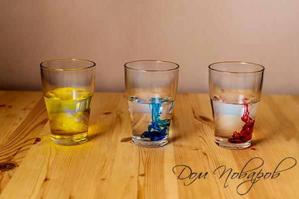 Растворение пищевых красителей в воде