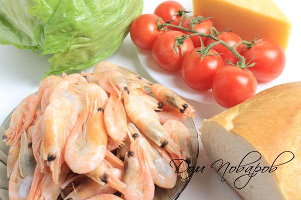Ингредиенты для салата «Цезарь» с креветками