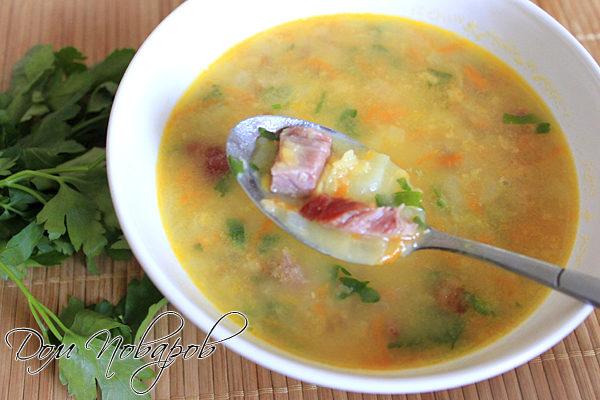 Суп гороховый с копчеными ребрышками