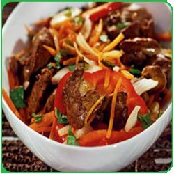 Теплый салат: куриная печень и болгарский перец