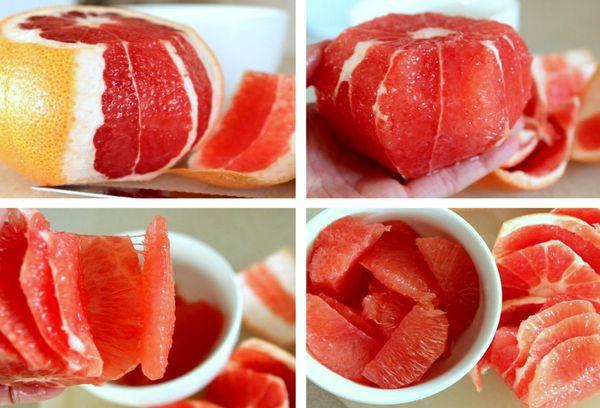 отделение кожуры от грейпфрута ножом