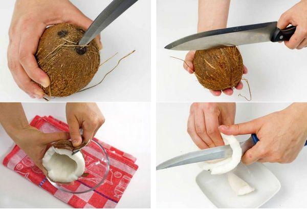 открытие кокоса ножом