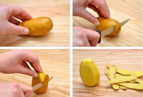 метод очистки картошки ножом