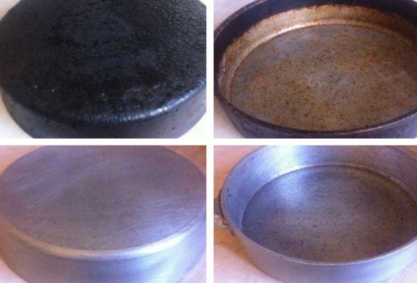 алюминиевая сковорода до и после чистки