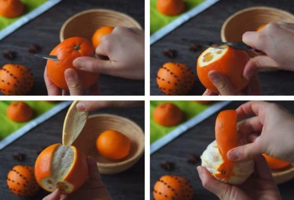 Чистка апельсина ножом