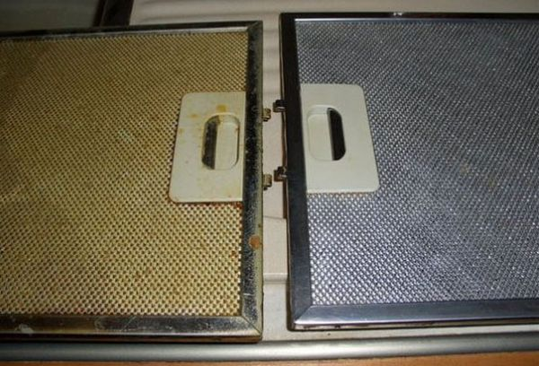 сетка для вытяжки до и после чистки