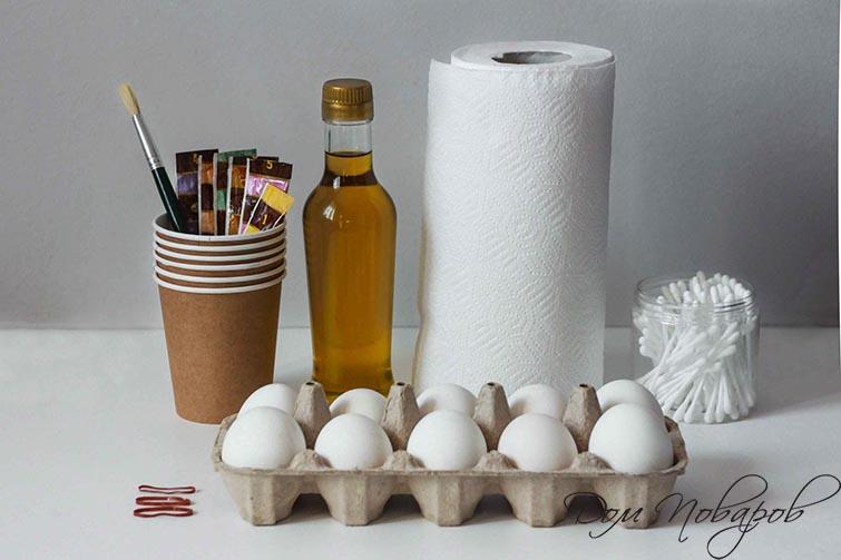 Ингредиенты для окрашивания яиц цветными салфетками