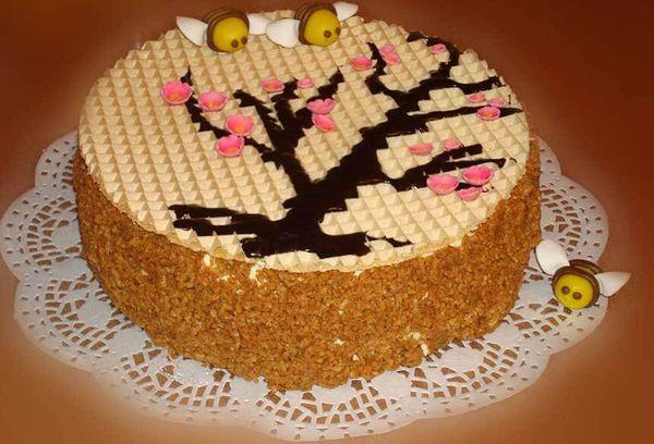 Торт медовик с вафлями