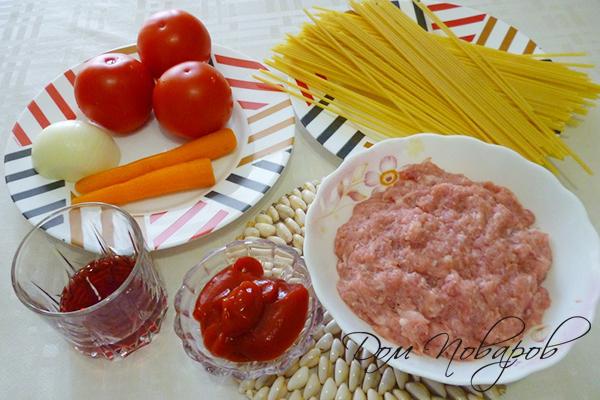 Ингредиенты для пасты с фаршем по-итальянски