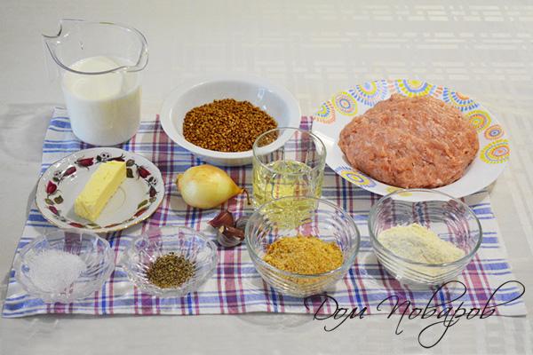 Ингредиенты для котлет с гречкой