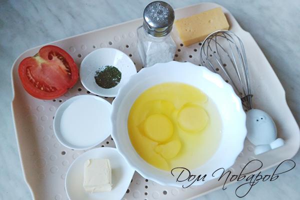Ингредиенты для омлета с сыром и томатами