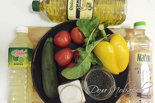 Ингредиенты для теплого овощного салата