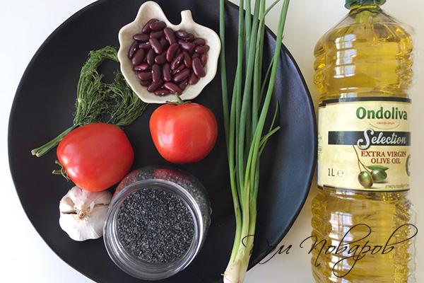 Ингредиенты для салата с фасолью и томатами