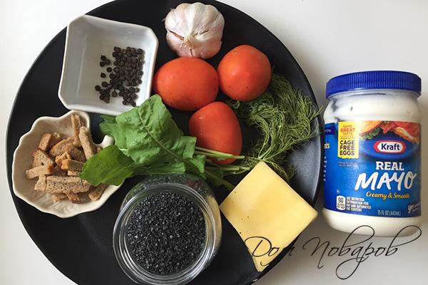 Ингредиенты для салата из помидоров и сухариков