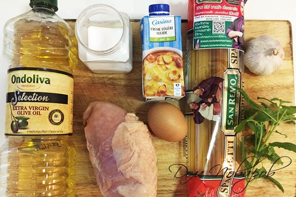 Ингредиенты для пасты карбонара с курицей