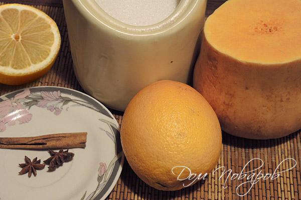 Ингредиенты для джема с тыквой и цитрусами