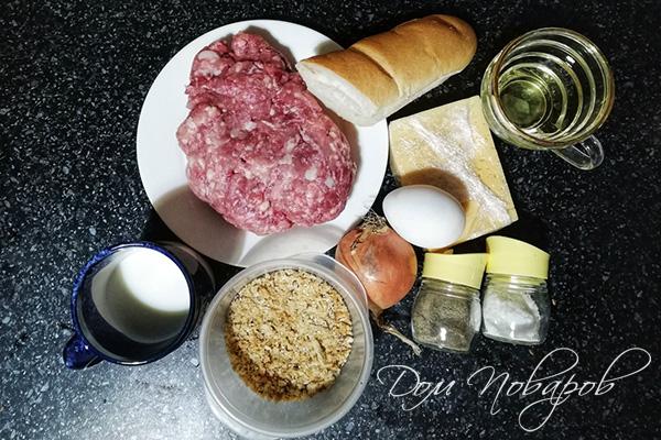 Ингредиенты для котлет с сырной начинкой