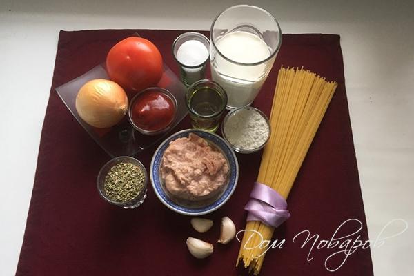 Ингредиенты для пасты с консервированным тунцом