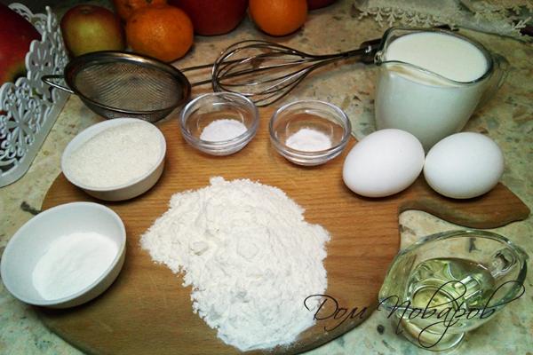 Ингредиенты для блинов на кефире