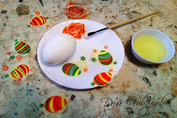 Картинки из салфеток для украшения пасхального яйца