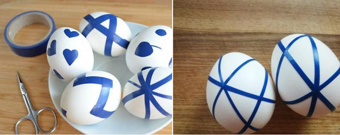 Узор из изоленты на яйцах пасха